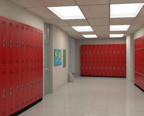 Bold Red Hallway with Duralife Lockers