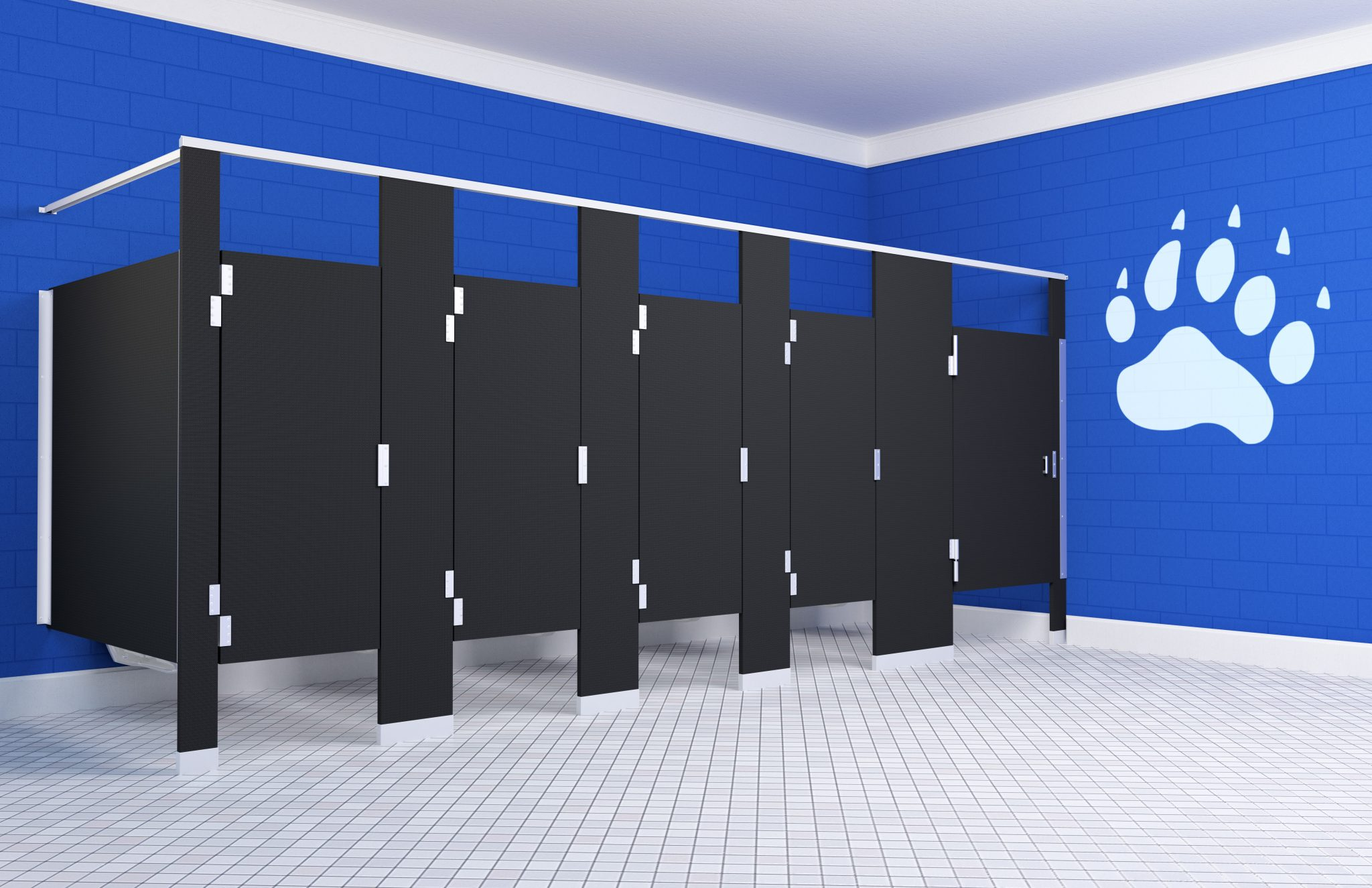 Black Hiny Hiders Partitions Next To Blue Wall