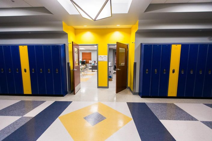 Bold Yellow and Blue School Hallway