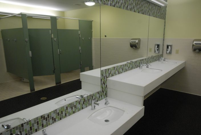 Green Earth Tone Restroom Design