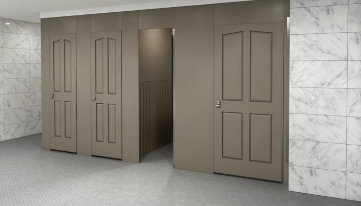 Bronze Aria Partitions in Retail Restroom