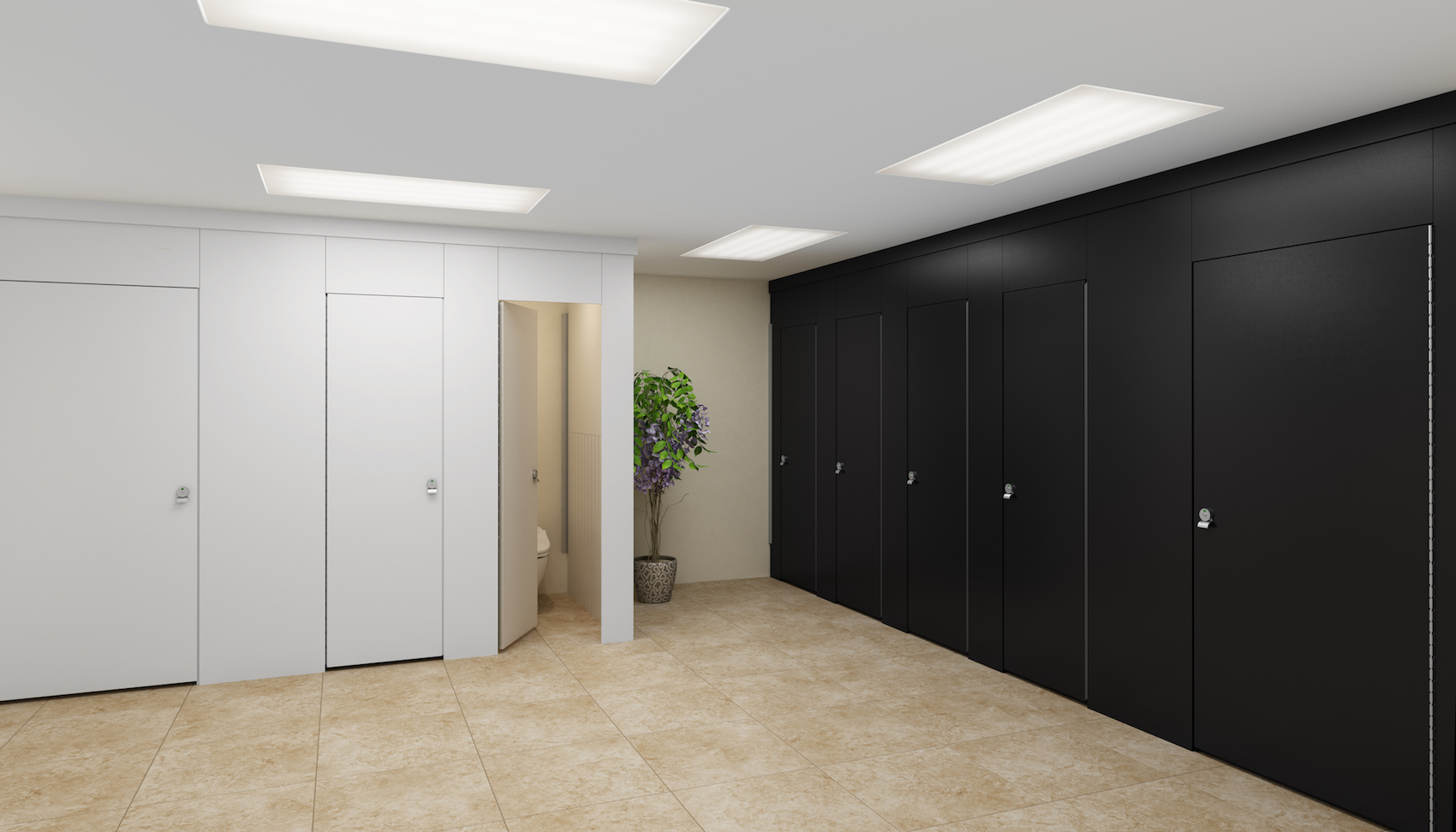Black & White Aria Partitions in Commercial Restroom