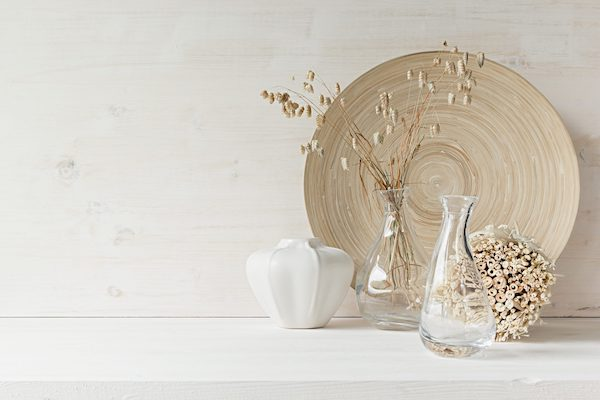 Home decor of wooden plate on white wood background