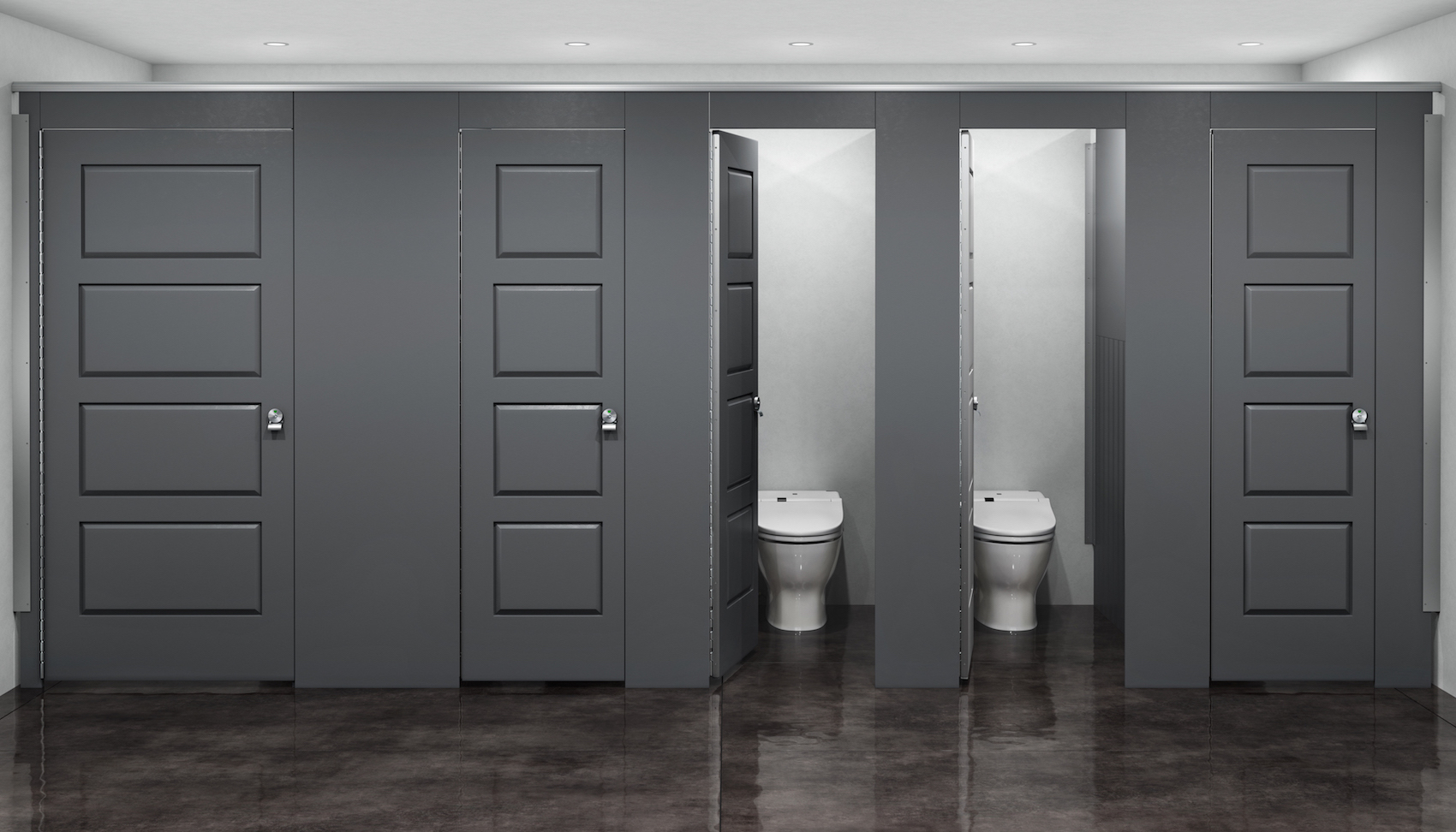 Aria Partitions in Industrial Restroom